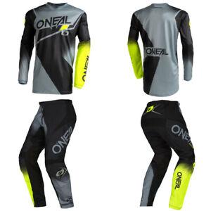O'Neal Element Gray/Neon Jersey Pants motocross dirt bike gear package bundle