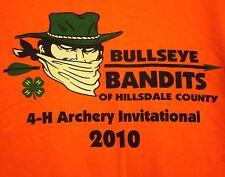 BULLSEYE BANDITS lrg T shirt Hillsdale County dayglo tee Michigan archery 2010