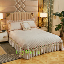 Luxury Velvet Quilted Thick Bedspread Ruffled Soft Warm Bed Spread Pillow Shams