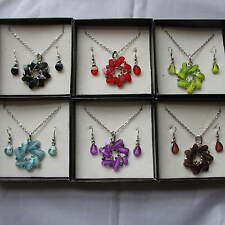 Wholesale & Job Lots 6 Petal Flower Glass Necklace Earring Sets In Boxes RB16