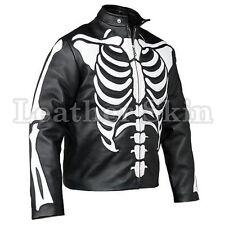 Leather Skin Men Black Skeleton Biker Motorcycle Racing Genuine Leather Jacket