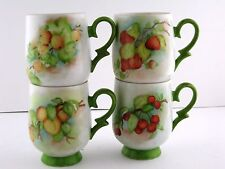 Coffee Cups Mugs OOAK Hand Painted Porcelain Peach Cherry Apply Strawbe 1980 VTG