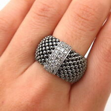 925 Sterling Silver Real Diamond Adjustable Wide Mesh Ring Size 7.5