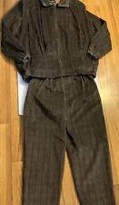 Le Painty Paris Womens 2 Piece pant Suit retro designer brown corduroy size 8 42