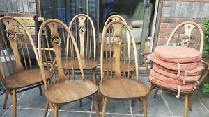 6 X ERCOL SWAN BACK DINING CHAIRS OF WHICH 2 CARVER CHAIRS AND 6 QUALITY CUSHION