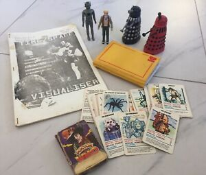 Doctor Who lot, figures, photo album,cards, Time / Space Visualiser magazine