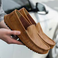 New Men's Driving Moccasins Shoes Leather Loafers Slip Comfortable Casual Flats