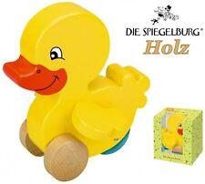 Spiegelburg Ente Nelli Holz-Spielzeug mit beweglichen Flügeln & Rollen NEU 11403