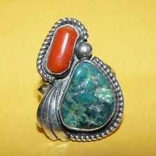 ~VINTAGE~NATIVE~NAVAJO~OLD~PAWN~STERLING~SILVER~w/ TURQUOISE~&~CORAL~RING~SIZE 8