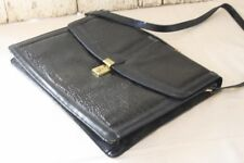 Viaggio Black Satchel Briefcase Bag w Strap Genuine Leather  Brass Clasp w Key