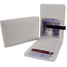 Mens Fresh White & Slim Black Money Clip Faux Leather Wallet ID Card Cash Holder