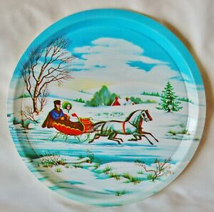 Lot of 2! Vintage Christmas Molded Plastic Serving Tray Santa Claus Sleigh Ride