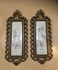 New ListingVtg Syroco Homco Gold Wall Art Decor Plaques #7410 Goddess Angel Set (2) Usa