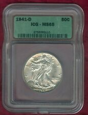 1941-D Walking Liberty Half Dollar in IGC MS 65