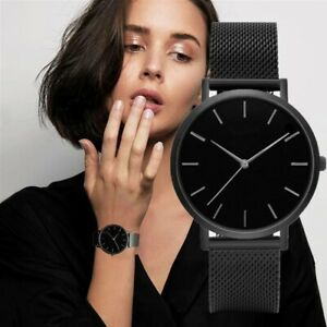New Fashion Luxury Women Leather Band Stainless Steel Quartz Analog Wrist Watch