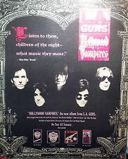 L.A.GUNS ADVERT POSTER NEW LP HOLLYWOOD VAMPIRES ORIGINAL NOT REPRINT 1991 RARE
