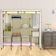 Triple Wardrobe Hanging Canvas Clothes Rail Storage Fabric Rack Shelves Cupboard