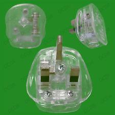 13A UK 3 Flat Pin Mains Plug, Clear No Colour Transparent See Through Novelty