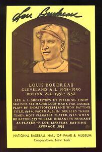 SIGNED Auto HOF Plaque Yellow Postcard LOU BOUDREAU Cleveland Indians A27
