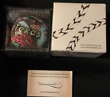 Unforgettaballs Texas Painted Baseball Display Cube Box & 2 Cards New Ball