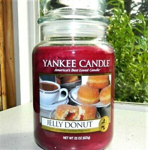 """Yankee Candle Retired """"JELLY DONUT""""~ Large 22 oz ~ WHITE LABEL~ RARE~VHTF~ NEW"""