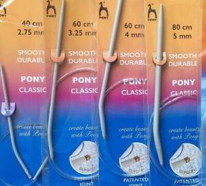 Pony Fixed Circular Knitting Pins 80cm