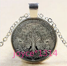 Wolf Tree of Life Cabochon Tibetan silver Glass Chain Pendant Necklace #3624