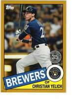 Christian Yelich 2020 Topps 1985 35th Anniversary 5x7 Gold #85-59 /10 Brewers