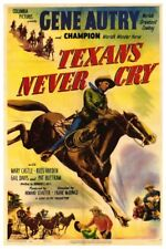 "GENE AUTRY TEXANS NEVER CRY -  VINTAGE WESTERN MOVIE POSTER 12"" X 18"""