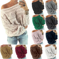 Womens Baggy Knitted Long Sleeve Sweater Lady Loose Casual Jumper Pullover Tops