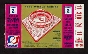 1970 World Series Game 2 Ticket Stub Orioles vs  Reds Johnny Bench Powell HR's