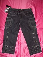 BNWT Grey/Black Denim Buttoned/Pocket Detail 'CUT OFF' Jeans UK 8 Small / EU 34