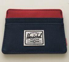 New Herschel Supply Charlie Wallet Card Holder Street Navy Blue Red Trims Men's