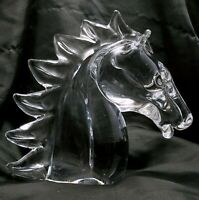 """Large Crystal Horse Head 8.25"""" Clear Solid Art Glass Sculpture 5.4lb Paperweight"""