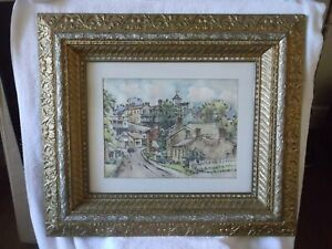 LARGE SIGNED Max Fernekes Mineral Point Wisconsin WPA Artist Watercolor 3D FRAME