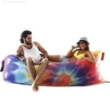 NEW NOMAD TIE DYE INFLATABLE TRAVEL LOUNGER FOR HOME, CAMPING, WITH STUFF SACK!