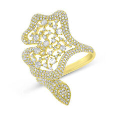 Diamond Cocktail Right Hand Fancy Ring Unique 14K Yellow Gold Natural Round