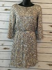 ALICE + OLIVIA Size XS P Silk Sequin Party Dress Silver