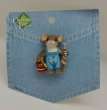Charming Tails Farmer Mouse Carrying Bucket, Pitch fork, on frayed pkg, no cover