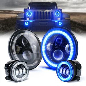 "7"" 90W LED Projector Headlights & Fog Lights Combo w/ Blue Halo for Jeep JK TJ"