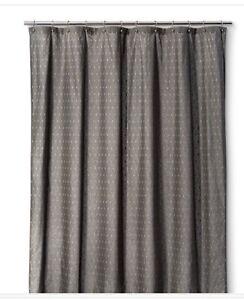Threshold Radiant Gray Geomet Fabric Shower Curtain NWOT