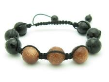 Shamballa Design Macrame Gold Stone Bead Stackable Bracelet Unique Gift Idea
