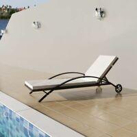 vidaXL Sun Lounger Poly Rattan Wicker Brown Outdoor Bed Chaise Seating Garden