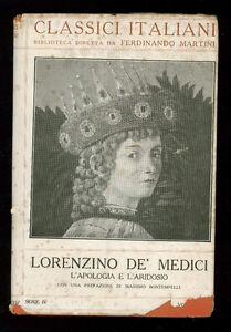DE' MEDICI LORENZINO L'APOLOGIA E L'ARIDOSIO IST. ED. ITALIANO ANNI '20