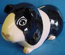 QUAIL CERAMIC BLACK & WHITE GUINEA PIG MONEYBOX MONEY BOX PIGGY OR SAVINGS BANK