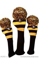 Golf Club Headcover set 1 3 5 MAJEK BLACK YELLOW rugby colors Pom Head covers
