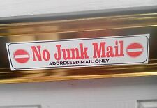 No Junk Mail Sticker (Red Decal) Addressed Mail Only. Door Sign ID: AMO. UK Post