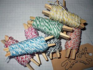 40mts Assorted Coloured  FINE BAKERS TWINE 8 x 5 mt Lengths