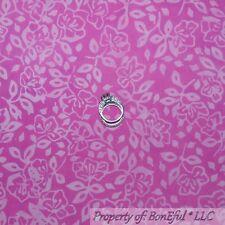 BonEful FABRIC FQ Cotton Quilt VTG PINK Baby BATIK Flower Leaf Print Tone Tonal
