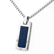 Collana in acciaio inox blu di contorno zirconia Collana con targhetta